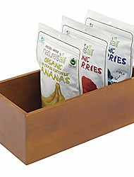 cheap -wood bamboo kitchen cabinet pantry organizer bin - eco-friendly, multipurpose - use in drawers, on countertops, shelves or in pantry - brown