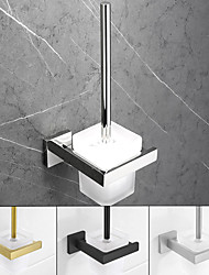 cheap -Toilet Brush Holder Modern Glasses 304 Stainless Steel Grade ABS Metal Bathroom Wall Mounted - 1pc