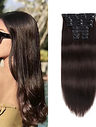 cheap -Clip In Hair Extensions Remy Human Hair 10pcs Pack Straight Natural Hair Extensions