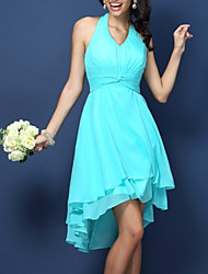 cheap -A-Line Halter Neck Short / Mini Chiffon Bridesmaid Dress with Pleats