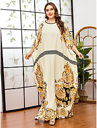 cheap -Women's Swing Dress Maxi long Dress Beige Long Sleeve Print Print Fall Summer Round Neck Casual Batwing Sleeve Cotton Oversized 2021 One-Size / Plus Size
