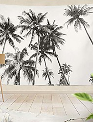 cheap -ethnic psychedelic tapestry wall hanging black and white silhouettes tropical coconut palm trees white palmliving room bedroom art nature home decorations 80 x 60 inches