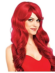 cheap -Cosplay Wig Wavy Long Red Curly Asymmetrical Wig Very Long Red Synthetic Hair Women's Anime Cosplay Exquisite Red