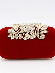cheap -Women's Bags Polyester Alloy Evening Bag Crystals Flower Solid Color Floral Print Handbags Wedding Event / Party Black Red