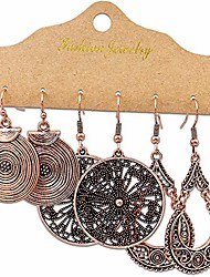 cheap -antique ethnic brocade mexico gypsy engraved lotus hook dangle earrings for women and girls (3 pairs round)