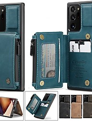 cheap -CaseMe Retro Leather Zipper Purse Back Case For Samsung Galaxy A52 A72 Note 20 10 Ultra S21 S20 S10 Wallet Card Slot Stand Credit Card Holder Cases Wristlet Zipper Wallet
