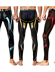 cheap -TAUWELL Men's Running Tights Leggings Compression Pants Athletic Compression Clothing Tights Leggings Fitness Gym Workout Running Breathable Quick Dry Soft Sport Yellow Light Red Blue Geometry