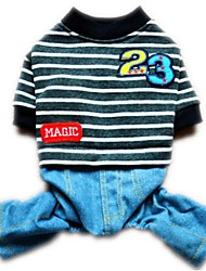 cheap -Cat Dog Jumpsuit Winter Dog Clothes Red Dark Blue Gray Costume Corduroy Jeans Stripes Casual / Daily XS S M L XL