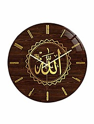 cheap -non ticking wall clock islamic wall clock home decor allah wall decor with quran ayat for bedroom living room style 8 (without battery)