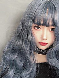 cheap -Synthetic Wig Curly With Bangs Wig Long Grey Synthetic Hair Women's Classic Adorable Exquisite Gray