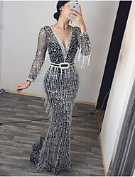 cheap -Women's Sheath Dress Maxi long Dress - Long Sleeve Solid Color Sequins Tassel Fringe Patchwork Fall Sexy Party Vacation 2020 Black S M L XL