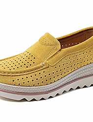 cheap -women's platform slip on loafers hollow out comfort suede moccasins low top casual shoes yellow 39