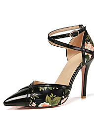 cheap -Women's Heels Stiletto Heel Pointed Toe Sexy Daily Buckle Flower Floral PU Walking Shoes Almond / Black / Blue