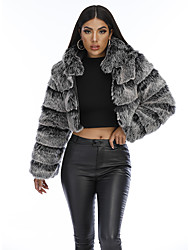 cheap -Women's Solid Colored Fur Trim Basic Fall & Winter Faux Fur Coat Short Daily Long Sleeve Faux Fur Coat Tops White