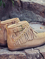 cheap -Women's Boots Flat Heel Round Toe Casual Basic Daily Tassel Solid Colored Suede Booties / Ankle Boots Walking Shoes Black / Yellow / Beige