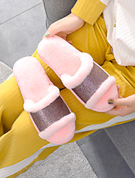 cheap -Women's Slippers & Flip-Flops Fuzzy Slippers Indoor Slippers Flat Heel Open Toe Casual Sweet Daily Home Faux Fur PVC Rhinestone Solid Colored Light Pink