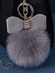 cheap -fluffy ball key chain 8-10cm cute keychain bag charm ball fur key chain for car key ring (grey)
