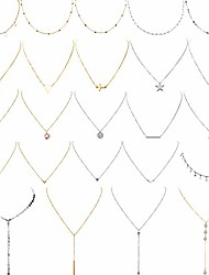 cheap -24 pieces layered necklace multilayer choker necklace tiered chokers necklace charm pendant necklace for women girls (gold and silver)