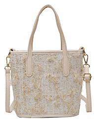 cheap -Women's Bags Velvet Top Handle Bag Straw Bag Zipper Daily Date Handbags White Black Blue