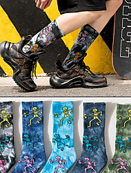 cheap -Athletic Sports Socks 1 Pair Cushion Tie Dye Men's Women's Crew Socks Tube Socks Breathable Sweat-wicking Comfortable Gym Workout Basketball Running Active Training Skateboarding Sports Tie Dye Cotton