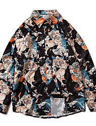 cheap -Men's Daily Shirt Floral Print Long Sleeve Tops Exaggerated Button Down Collar Black