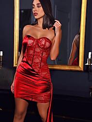 cheap -Women's Wrap Dress Short Mini Dress Red Sleeveless Solid Color Mesh Fall Strapless Elegant 2021 S M L XL