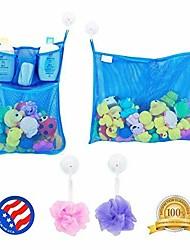 billige -2 x mesh legetøjsarrangør med mesh + 6 ultra stærke kroge - den perfekte legetøjsholder til badekar& badeværelse eller brusebad - disse multi-use netposer gør det nemt at opbevare legetøj til