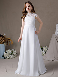 cheap -A-Line Floor Length Junior Bridesmaid Dress Party Chiffon Sleeveless Jewel Neck with Pleats