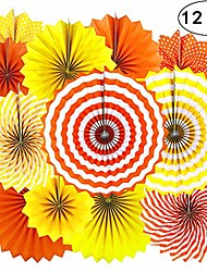 cheap -birthday party hanging paper fans decorations - thanksgiving fall carnival party wedding graduation party ceiling hangings photo booth backdrops decorations, 12pc