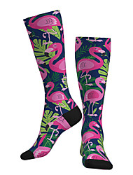 cheap -Compression Socks Long Socks Over the Calf Socks Athletic Sports Socks Cycling Socks Women's Men's Bike / Cycling Breathable Soft Comfortable 1 Pair Flamingo Cotton Fuchsia S M L / Stretchy