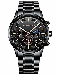 cheap -brand men's business casual chronograph quartz waterproof wristwatch with stainless steel band (silver black)