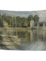cheap -Wall Tapestry Art Decor Blanket Curtain Picnic Tablecloth Hanging Home Bedroom Living Room Dormitory Decoration Polyester Fiber Oil Painting River