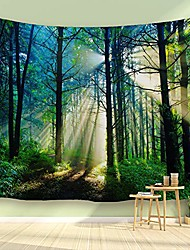 "cheap -sunshine forest tapestry morning green trees woodland grasses natural landscape wall hanging for living room bedroom dorm, 90"" w x 60"" l & #40;230cmx150cm& #41; - misty sunshine forest"