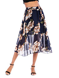 cheap -Women's Daily Wear Basic Skirts Floral Chiffon Print Blue