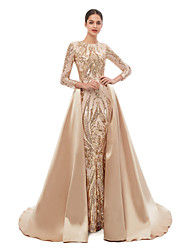 cheap -Mermaid / Trumpet Elegant Vintage Prom Formal Evening Dress Jewel Neck Long Sleeve Detachable Sequined with Sequin 2021