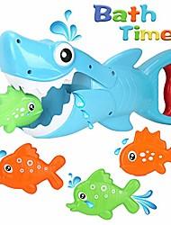 billige -badelegetøj, haj grabber baby badelegetøj sæt badekar legetøj, stor hvid haj med tænder bidende handling inkluderer 4 flydende fisk pool badeværelse badekar badekar haj bad legetøjsspil til småbørn