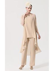 cheap -Pantsuit / Jumpsuit Mother of the Bride Dress Plus Size Elegant Bateau Neck Floor Length Chiffon Sleeveless with Sash / Ribbon Appliques 2021