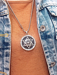 cheap -Women's Men's Pendant Necklace Chain Necklace Drop Friends Star Gemini Blessed Star of David Simple Fashion Punk Trendy Titanium Steel Alloy Silver 70 cm Necklace Jewelry 1pc For Street Gift Prom