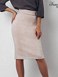 cheap -Women's Casual / Daily Basic Suede Bodycon Skirts Solid Colored Split Black Blue Red / Loose