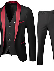 cheap -Black / Red / Wine Solid Colored Regular Fit Polyester Men's Suit - Shawl Lapel