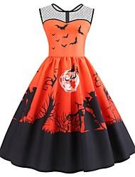 cheap -Women's Halloween A Line Dress Knee Length Dress Purple Orange Sleeveless Bat Print Mesh Patchwork Print Summer Round Neck Hot Vintage 2021 S M L XL XXL 3XL