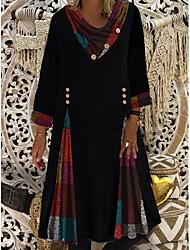 cheap -Women's Shift Dress Knee Length Dress - 3/4 Length Sleeve Color Block Patchwork Button Spring Fall Casual Hot vacation dresses Loose 2020 Black M L XL XXL 3XL