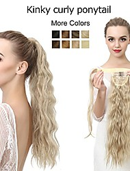 """cheap -curly blonde ponytail hair extension clip in wrap around long fake synthetic pony tail kinky curl yaki hairpiece hair piece for women girl lady  3.5oz 22"""" p009&27/613"""