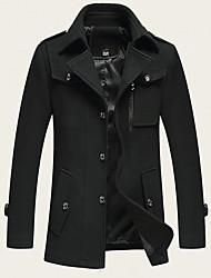 cheap -Men's Solid Colored Basic Fall & Winter Coat Long Daily Long Sleeve Wool Blend Coat Tops Black