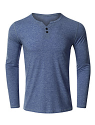 cheap -Men's T shirt non-printing Solid Color Classic Long Sleeve Date Tops Black Blue Brick red