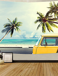 cheap -Wall Tapestry Art Deco Blanket Curtain Picnic Table Cloth Hanging Home Bedroom Living Room Dormitory Decoration Polyester Fiber Beach Series Blue Sky Coconut Tree White Cloud Yellow Car