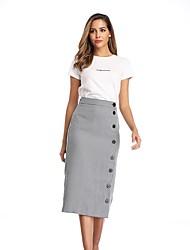 cheap -Women's Casual / Daily Basic Cotton Pencil Skirts Plaid Split Blue