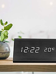 cheap -digital alarm clock, triangle wooden clock with led time display, 3 alarm settings, humidity & temperature, electric clocks for bedroom & bedside, black