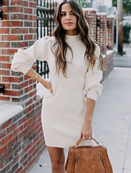 cheap -Women's Sweater Jumper Dress Short Mini Dress - Long Sleeve Solid Color Fall Winter Hot Casual Slim 2020 White Black Red Green S M L XL