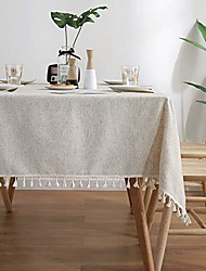 cheap -Solid Color Tassel Tablecloth Cotton Linen Table Cover Kitchen Dining Room Restaurant Party Decoration Rectangle